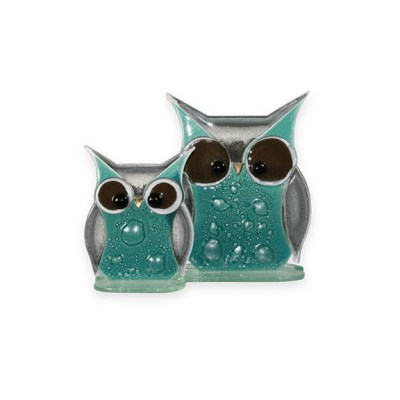 Handmade Fused Glass Owl Teal