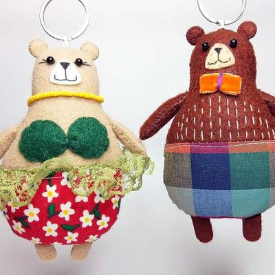 Pair of delightful handmade felt Bear keyrings
