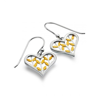 Heart Gold Leaves Earrings