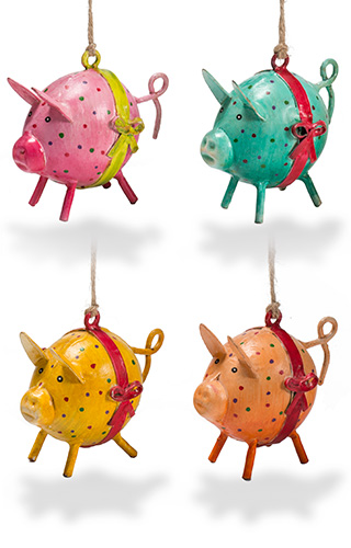 Hand painted iron mini dotty pig
