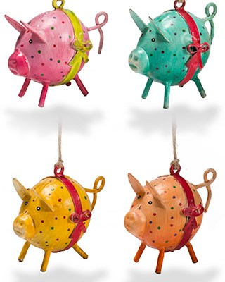 Hand painted iron mini dotty pig