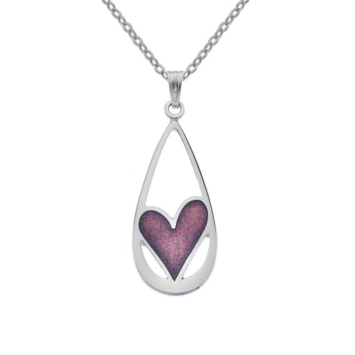 Teardrop Necklace with Mauve Heart Detail
