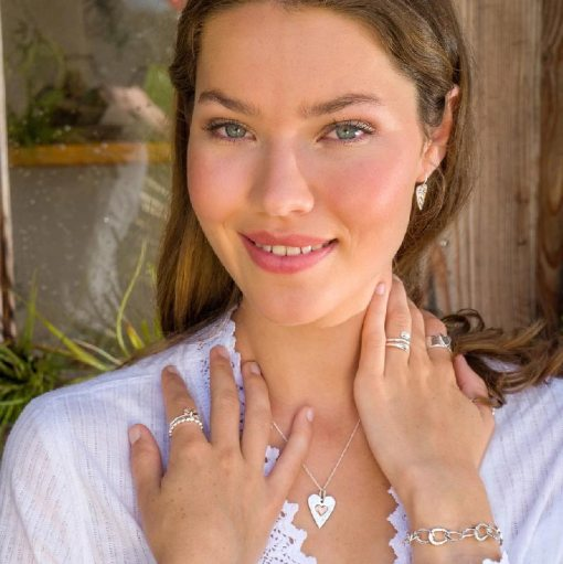 Sterling Silver & Rose Gold Heart Necklace & Earrings