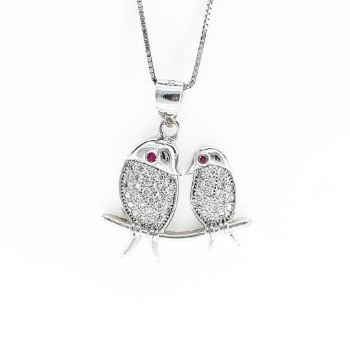 Sterling Silver & Cubic Zirconia Birds Necklace