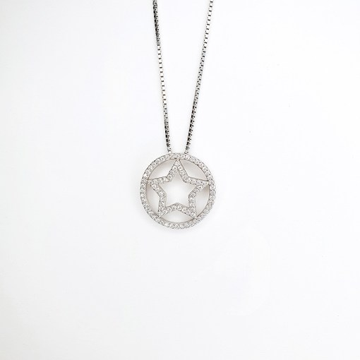 Sterling Silver & Cubic Zirconia Star Necklace
