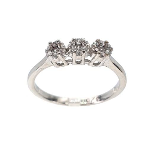 Sterling Silver Cubic Zirconia 3 Flower Ring
