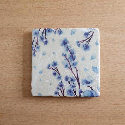 Marble Coaster - Blue Blossom