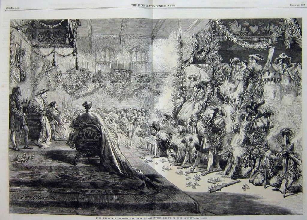 Henry VIII presides over the Christmas festivities at court