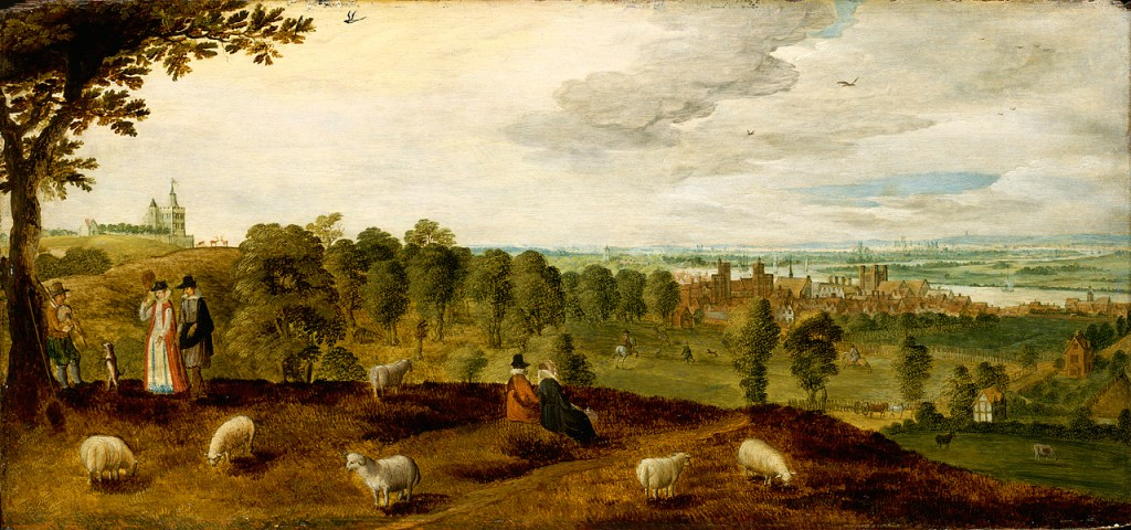 Painting of Tudor Greenwhich with the palace in the background