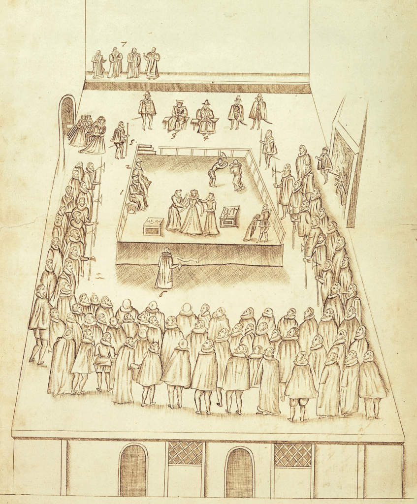 Drawing of the execution of Mary, Queen of Scots in the Great Hall at Fotheringhay.