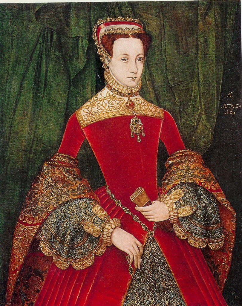 Portrait of Mary FitzAlan in a stunning crimson gown