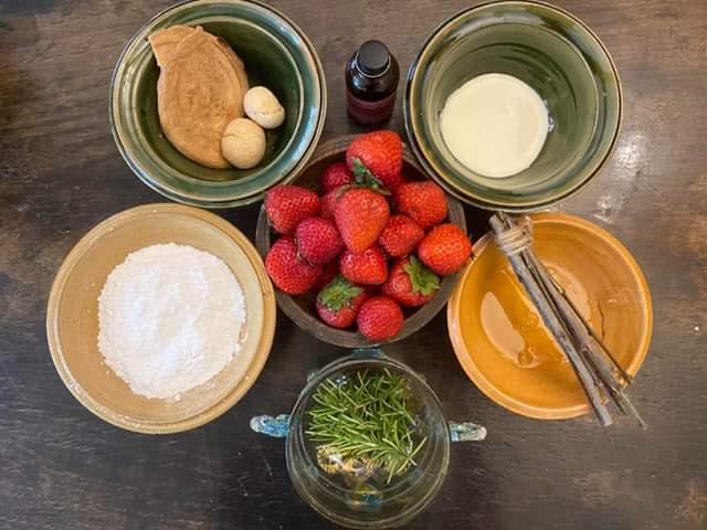 Picture of ingredients for a Dyschefull of Snow using strawberries