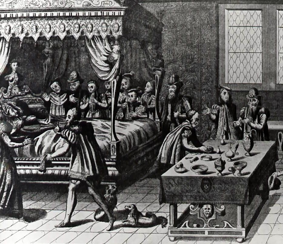 Members of the Royal court gathering around Henry II's deathbed the Hôtel des Tournelles