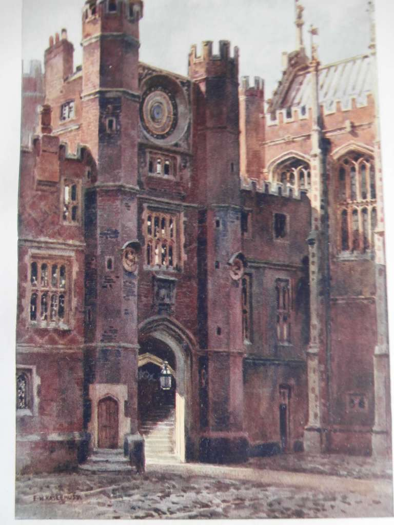 An old watercolour of Anne Boleyn's Gateway at Hampton Court Palace