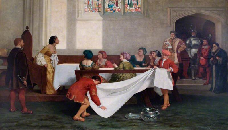 Fictional painting of Anne Boleyn's arrest at Greenwich Palace.