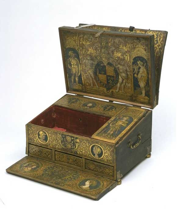 The image shows Henry VIII's writing box is house in the Victoria and Albert Museum one of the many free museums in London