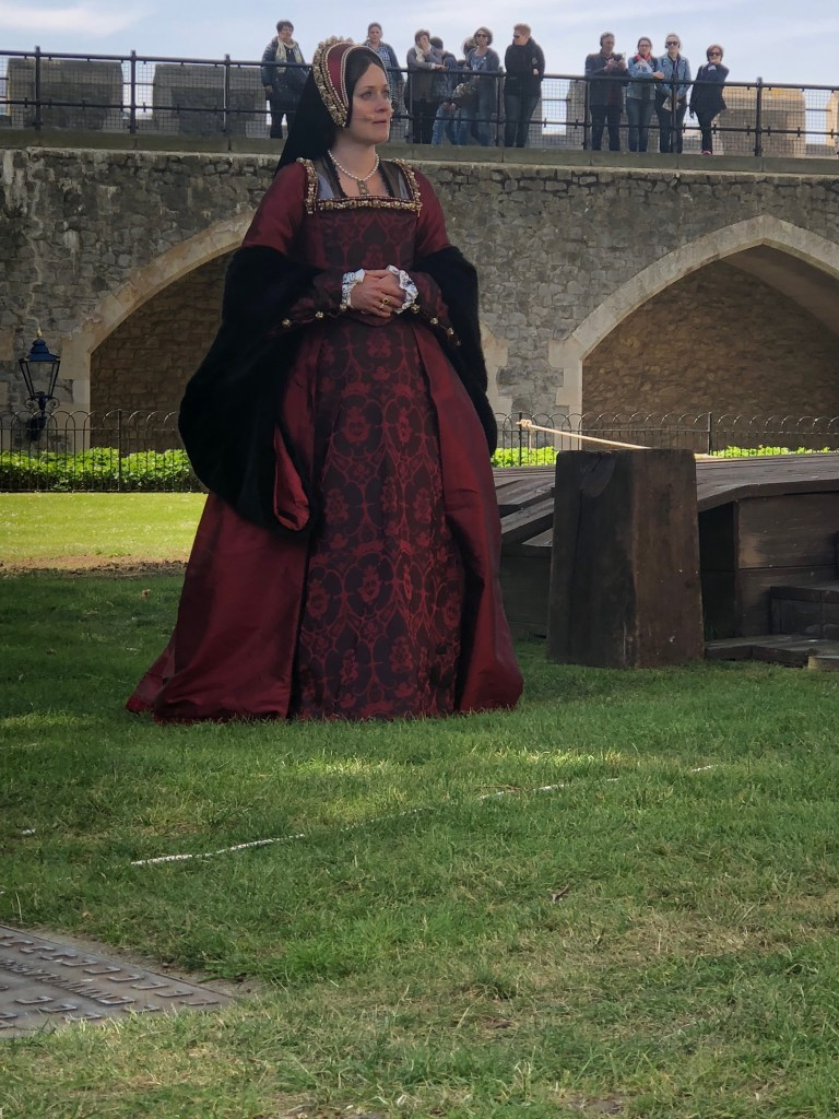An actress plays Anne Boleyn at the Tower of London