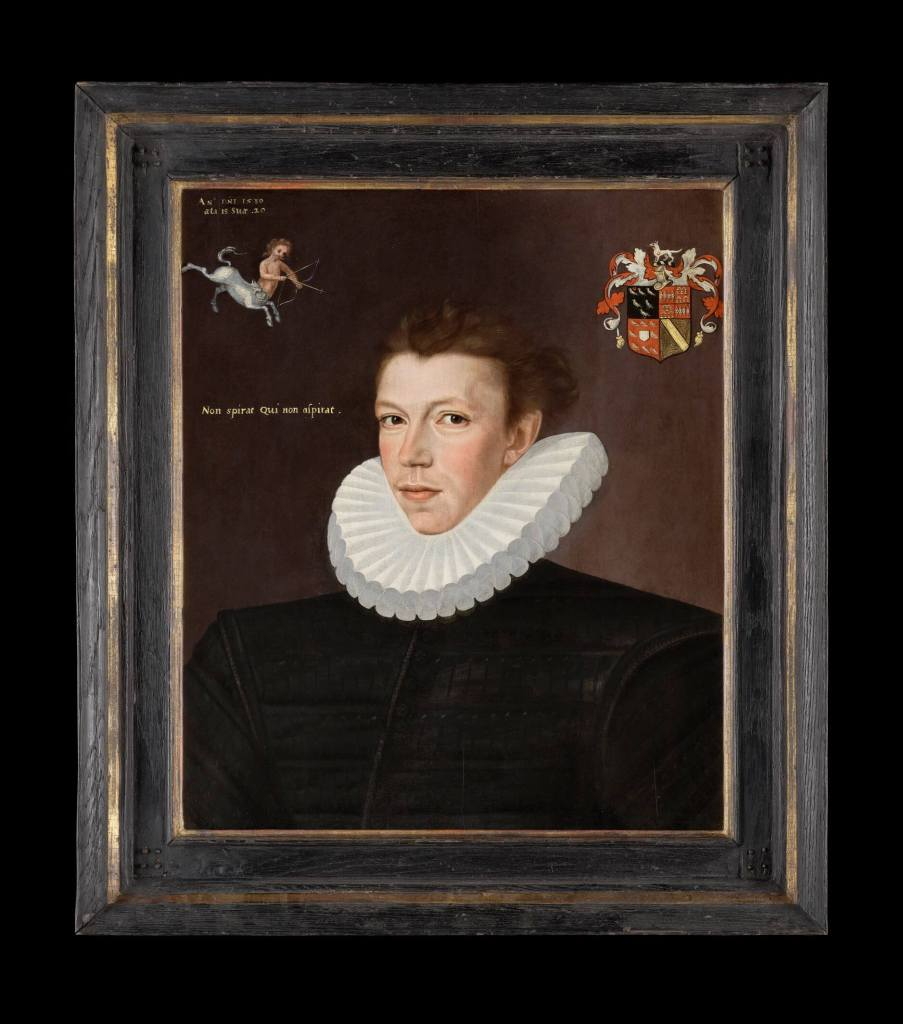 William Arundell, by GEORGE GOWER, 1580, Oil on panel, on display in the Love's Labour's Found Exhibition at the Philip Mould & Co Gallery.