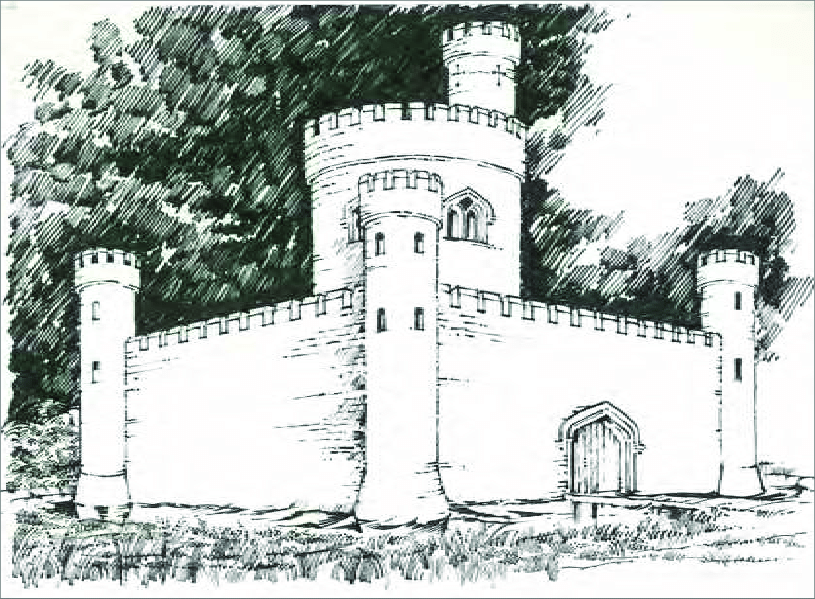 Artist impression of Maxey Castle.