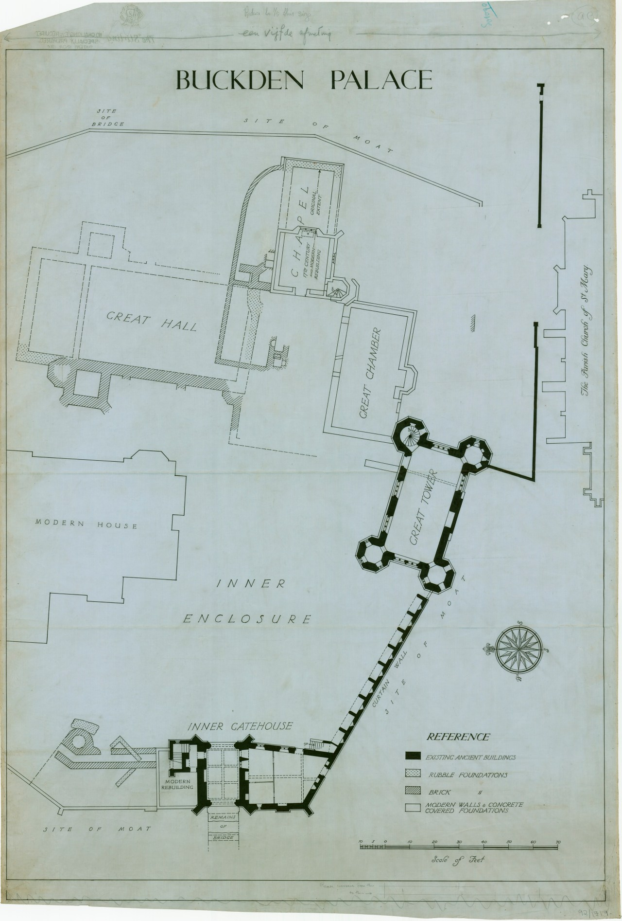 Plan of Buckden Palace during the Tudor Period