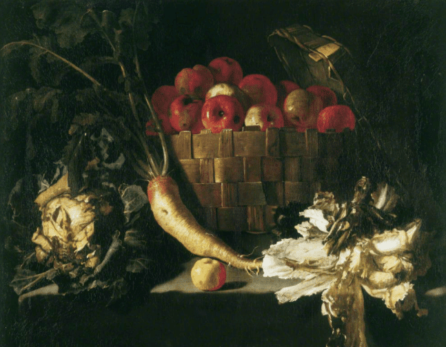 Still life with apples, cabbage, parsnip and lettuce