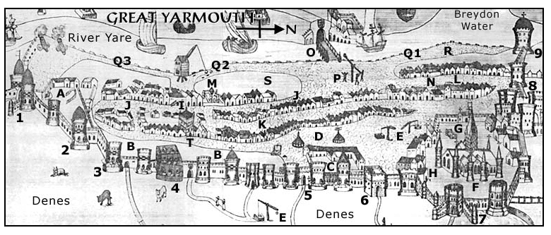 Map of Yarmouth from the Middle Ages