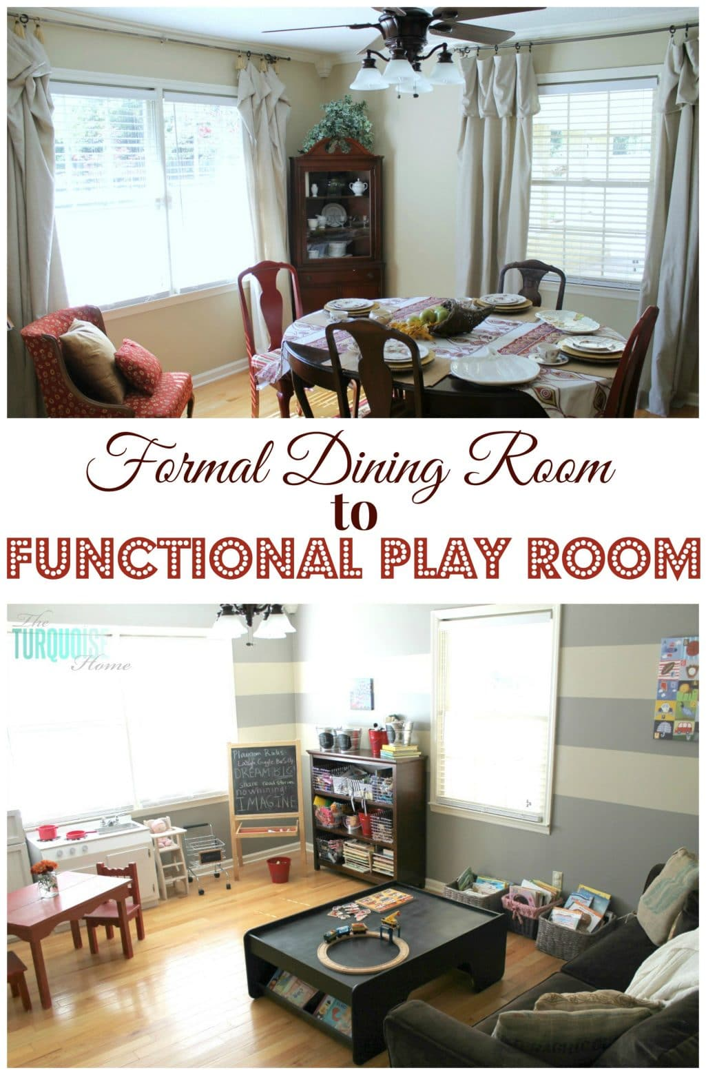 Formal Dining Room To Functional Play Room The Turquoise