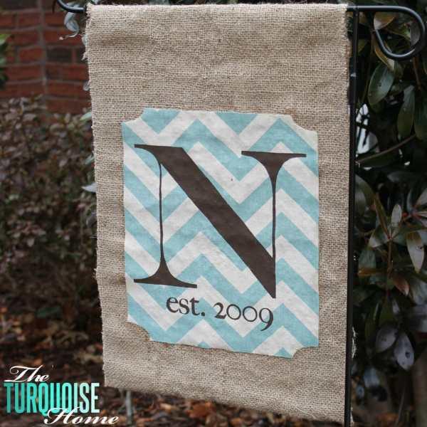 Sew Monogrammed Burlap Garden Flag Turquoise Home