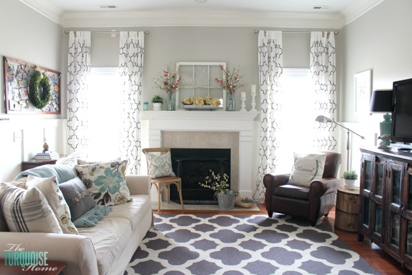 house of turquoise living room ideas with light grey walls a photo gallery dramatic home makeovers and before after pictures farmhouse fresh spring mantel all the details to get this look at theturquoisehome com