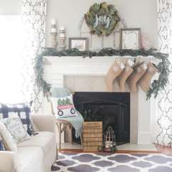 Living Room Chair Covers At Target Black Outdoor Rocking Magnolia Wreath Christmas Mantel Decor | The Turquoise Home