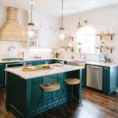 Colored Kitchen Islands Cobalt Blue Accessories 14 Colorful Island Ideas The Turquoise Home Dark Teal From Joanna Gaines