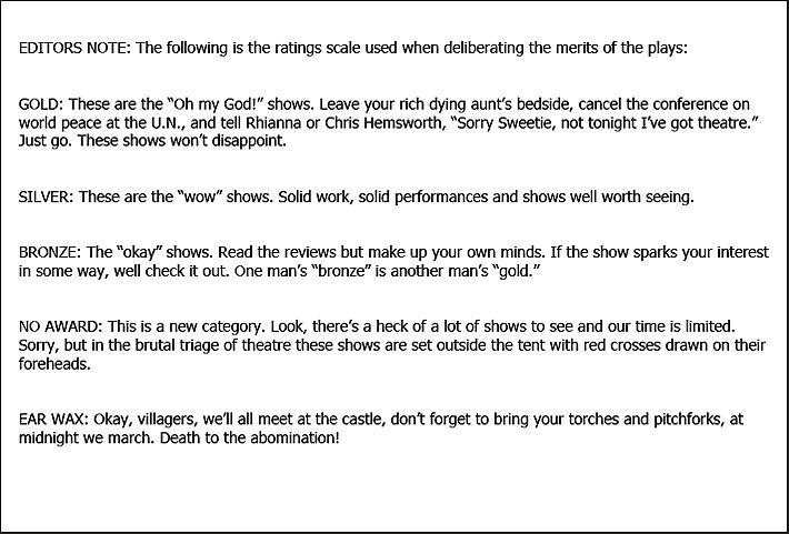 Fringe Festival Medal Guidelines