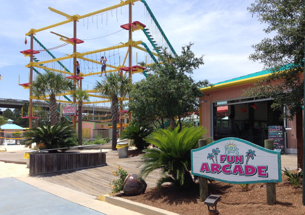 The arcade and ropes course at LuLu's in Gulf Shores.