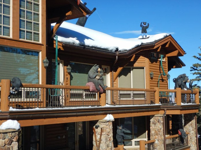Luxury homes - some with fun decor - line the slopes at at Deer Valley Ski Resort in Utah.