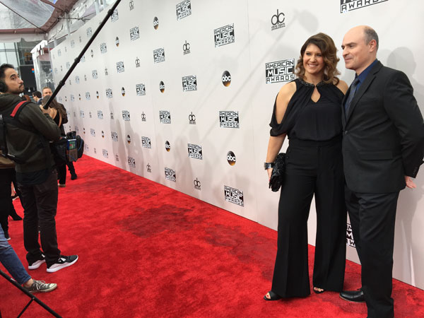 My husband and I on the red carpet before the American Music Awards, courtesy of Kohl's.