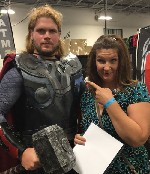 "Photo with cosplay Thor. Look him up on ""The Book of Faces."""
