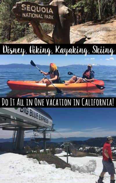 There are so many options for a California vacation! See how my family did Disneyland, camping, hiking, kayaking, and skiing all in one trip!