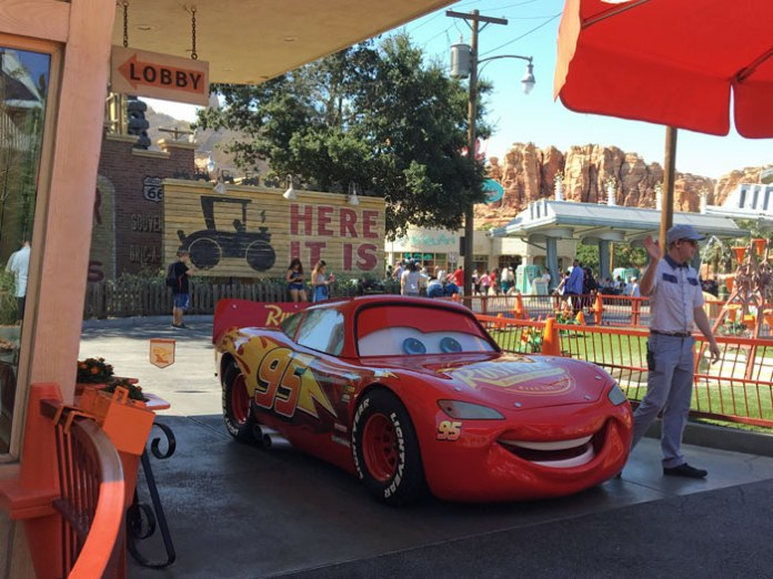 Lightning McQueen is on hand for photo ops at Disneyland.