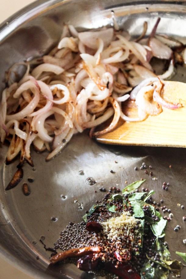 mustard seeds (rai, sarson, heeng (asafoetida) curry leaves, red chillies dries, kadhi patta and onions