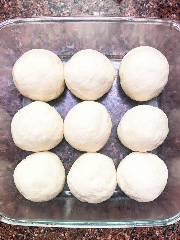 bread rolls in a square dish