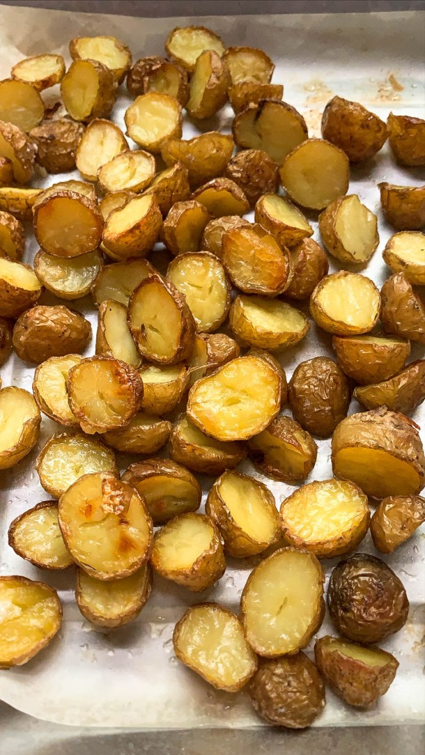 Crispy Baby potatoes in a large baking dish.