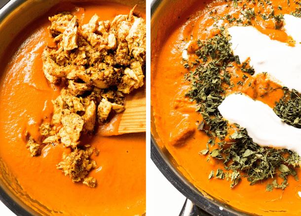 Shredded tandoori chicken added to orange butter chicken gravy.