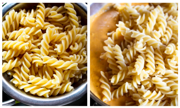 Step by step - pasta added to creamy roasted red pepper sauce.