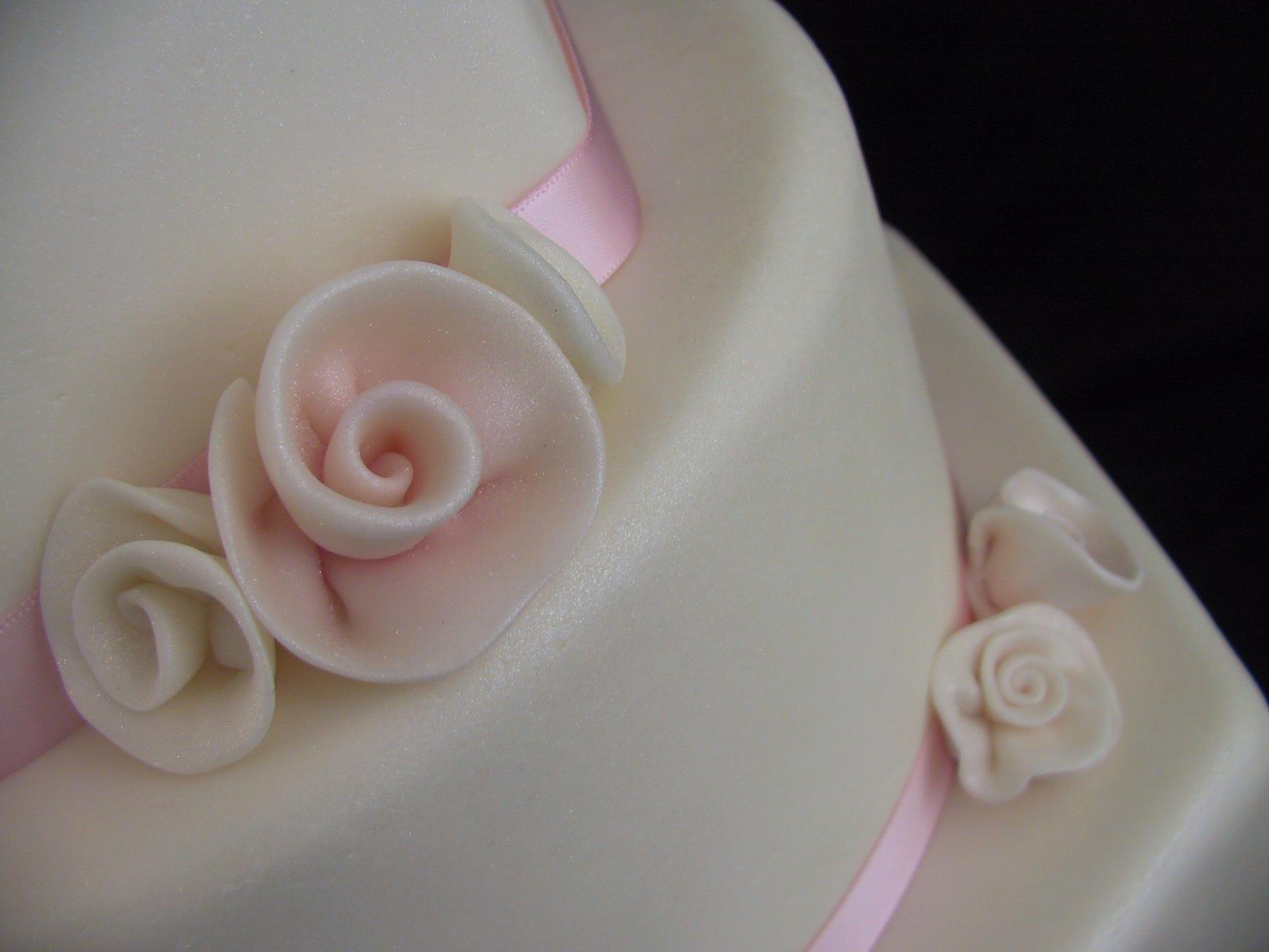 Fondant Wedding Cake Pink White Rolled Roses Lexington KY