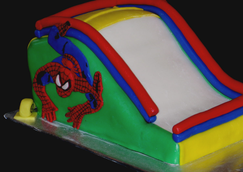 Spiderman inflatable slide cake
