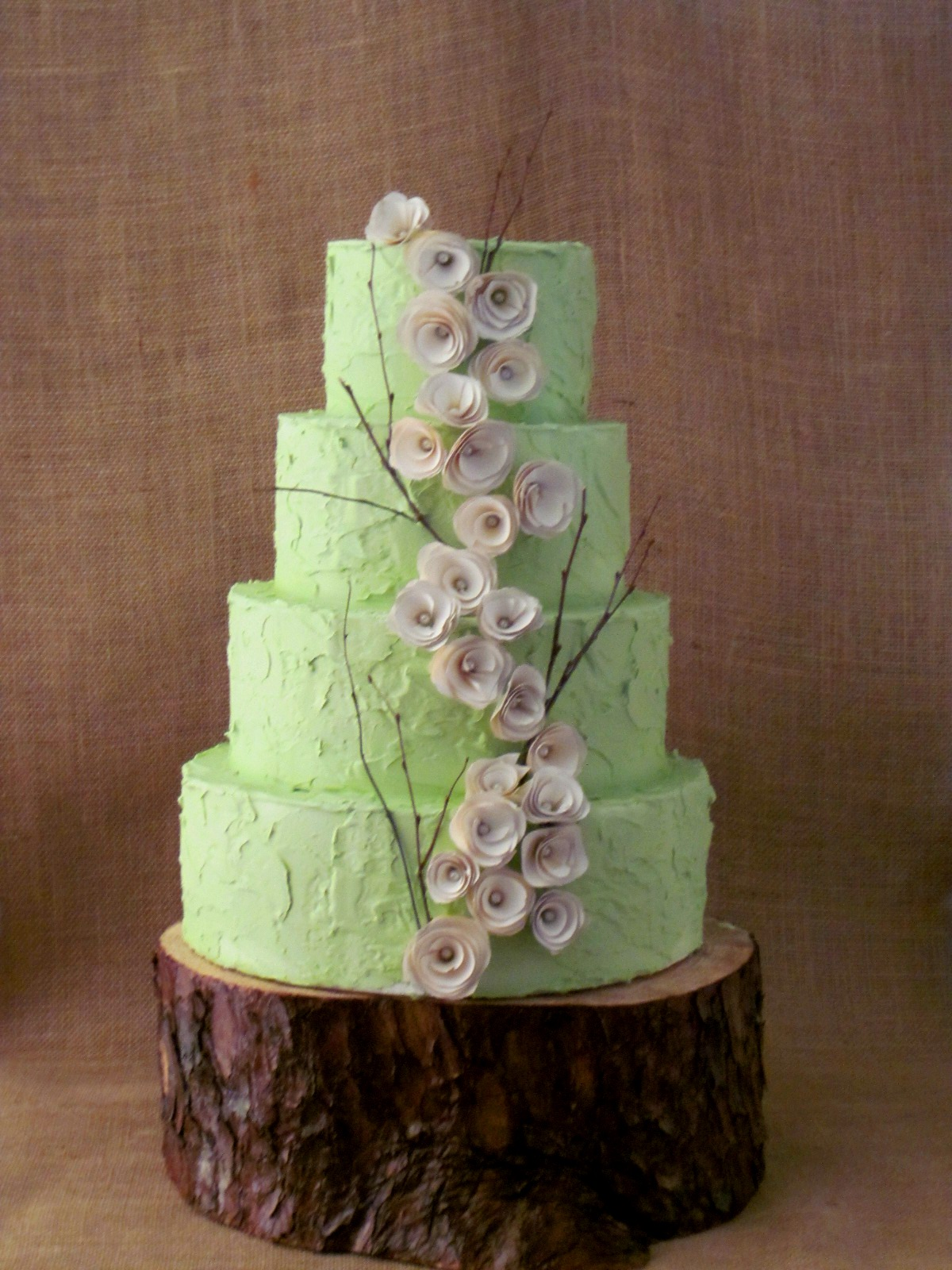 Green Rustic Wedding Cake