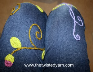 crochet motif embroidered jeans how to instructions pattern