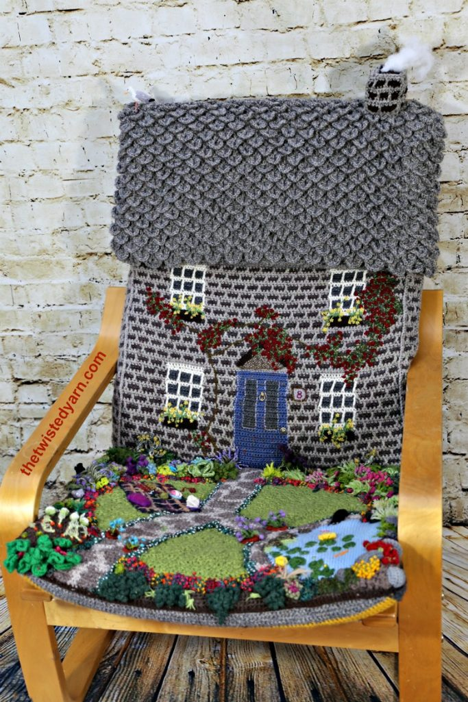 crochet knitted ikea poang chair cover cottage house garden