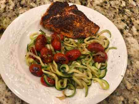 blackened salmon with zucchini noodles