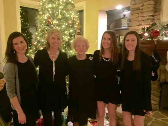 3 generations of Hill women at Christmas